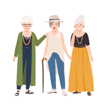 Group of smiling elderly women dressed in elegant clothes standing and talking to each other. Old ladies walking together. Female cartoon characters isolated on white background. Vector illustration.