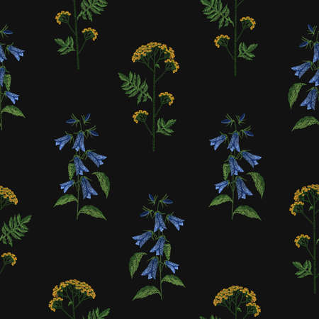 Elegant seamless pattern with embroidered blooming bellflower and tansy flowers on black background. Backdrop with botanical embroidery. Romantic hand drawn vector illustration for fabric print.