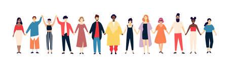 Uomini e donne sorridenti che si tengono per mano. Persone felici in fila insieme. Felicità e amicizia. Personaggi dei cartoni animati piatti maschili e femminili isolati su priorità bassa bianca. Illustrazione vettoriale colorata. Vettoriali