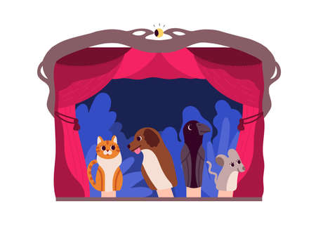 Hand puppets or animals manipulated by puppeteer at theater stage isolated on white background. Entertaining performance and storytelling for children. Flat colorful cartoon vector illustration. Ilustração