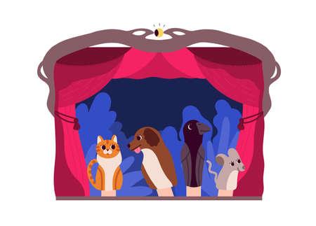 Marionetas de mano o animales manipulados por titiritero en el escenario del teatro aislado sobre fondo blanco. Actuación entretenida y narración de cuentos para niños. Ilustración de vector de dibujos animados coloridos planos.