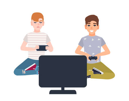 Pair of young boys sitting in front of display and holding gamepads. Children playing video games isolated on white background. Gamers battle. Colorful vector illustration in flat cartoon style.
