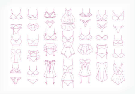 Collection of womens lingerie sets and sleepwear drawn with contour lines on white background. Bundle of elegant and sexy female underwear. Monochrome vector illustration in modern lineart style.