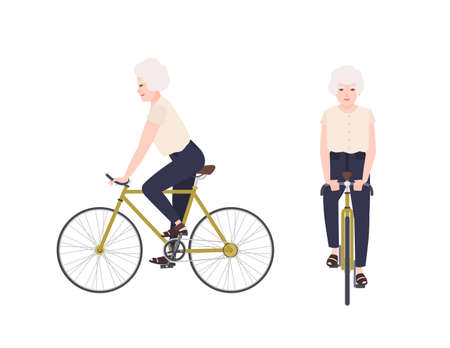 Old woman, grandmother or granny riding bike. Female cartoon character on bicycle. Pedaling elderly cyclist isolated on white background. Leisure activity. Front and side views. Vector illustration.