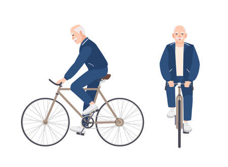 Old man dressed in sport clothing riding bike. Flat male cartoon character on bicycle. Pedaling elderly cyclist or bicyclist isolated on white background. Front and side views. Vector illustration.