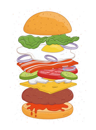 Tasty hamburger with layers or ingredients isolated on white background - buns, fried egg, vegetables, cheese, mushrooms. Realistic drawing of burger or sandwich, fast food meal. Vector illustration. Иллюстрация