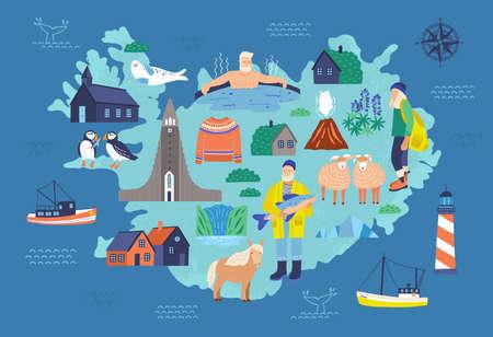 Map of Iceland with touristic landmarks and national symbols - lighthouse, sheep, fisherman, man in hot pool, Icelandic horse, Hallgrimskirkja. Colorful vector illustration in flat cartoon style.