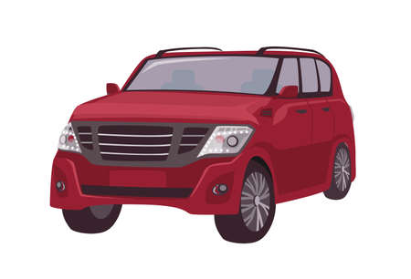 Modern red crossover, CUV car or automobile isolated on white background. Elegant stylish premium motor vehicle for adventure travel, journey. Colorful vector illustration in flat cartoon style.