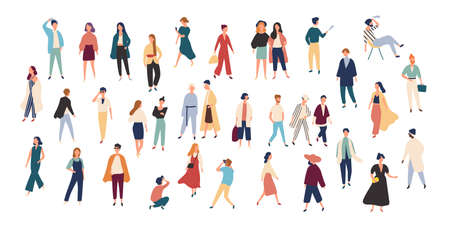 Crowd of tiny people wearing stylish clothes. Fashionable men and women at fashion week. Group of male and female cartoon characters dressed in trendy clothing. Flat colorful vector illustration. 矢量图像