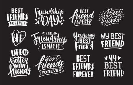 Insieme di amici e frasi di amicizia scritte a mano con caratteri calligrafici. Raccolta di lettere scritte isolato su sfondo nero. Elementi di design eleganti. Illustrazione vettoriale monocromatica.