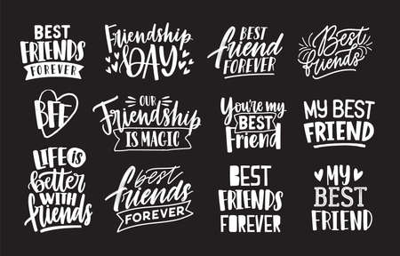 Set of friends and friendship phrases handwritten with calligraphic fonts. Collection of written lettering isolated on black background. Elegant design elements. Monochrome vector illustration.
