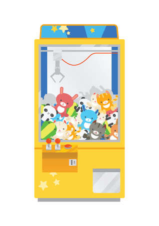 Claw crane machine or teddy picker isolated on white background. Arcade game with plush toys inside, gaming device for kid's entertainment. Colorful vector illustration in flat cartoon style
