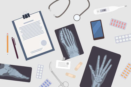 Doctor's or surgeon's table. Paper document, x-rays or radiographs of various body parts, smartphone, medications and medical tools lying on desk. Colorful vector illustration in flat cartoon style