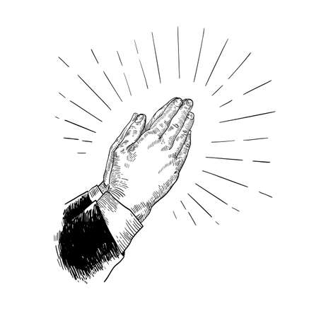 Folded praying hands drawn with black contour lines on white background. Beautiful retro drawing of religious prayer's gesture. Elegant monochrome vector illustration in vintage engraving style