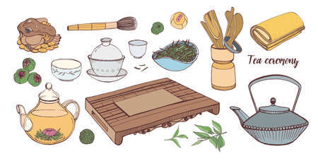 Collection of tools for traditional Asian tea ceremony isolated on white background - teapot, cups or bowls, tetsubin kettle, whisk for matcha preparation. Hand drawn realistic vector illustration.