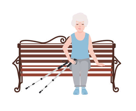Happy old women dressed in sports clothing sitting on bench with poles for nordic walking. Rest or break during outdoor activity. Cartoon character isolated on white background. Vector illustration.