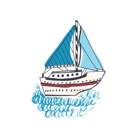Colorful drawing of passenger ship, sailing boat or marine vessel with sail in sea. Sailboat in ocean journey or trip. Maritime transportation. Hand drawn vector illustration in doodle style. Vettoriali