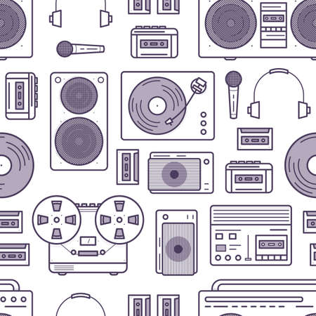 Seamless pattern with retro music devices drawn with contour lines on white background - cassette recorder, boombox, turntable, headphones, microphone. Flat cartoon vector illustration for wallpaper. Illustration
