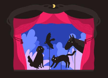 Títeres de sombras de varilla manipulados por titiritero en el escenario del teatro. Contar una historia de miedo, actuación entretenida con siluetas de animales para niños. Ilustración de vector de dibujos animados coloridos planos.