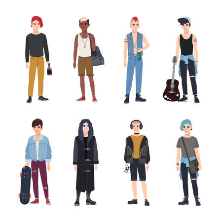 Collection of teenage boys, fans of various youth subcultures or countercultures - punk, rock, hip hop, skateboard, goth. Set of teenagers dressed in modern clothes. Flat cartoon vector illustration. Ilustração