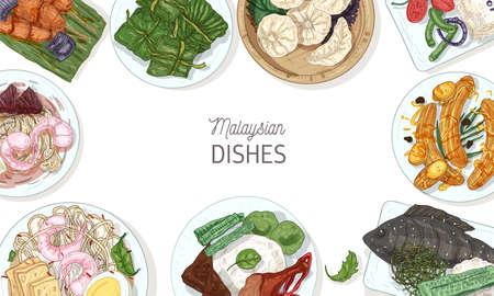 Plantilla de banner horizontal con sabrosas comidas de la cocina de Malasia o marco hecho de deliciosos platos de restaurante asiático picante en platos, vista superior. Ilustración de vector realista dibujado a mano colorido.