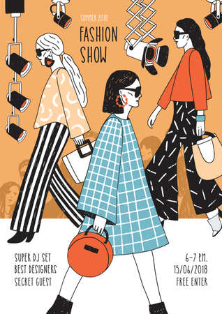 Modern flyer or poster template for fashion show with top models wearing trendy haute couture clothing and demonstrating it on runway. Colorful hand drawn vector illustration for event announcement.