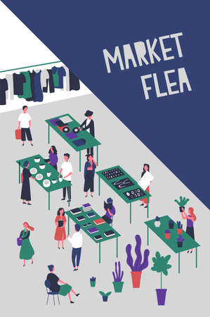Flyer or poster template for flea market or rag fair with people selling design and fashion goods, vinyl records, accessories, trendy clothing. Colorful vector illustration in flat cartoon style.