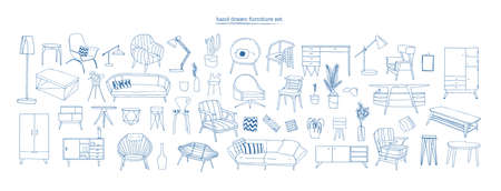 Collection of elegant modern furniture and home interior decorations of trendy Scandinavian or hygge style hand drawn with blue contour lines on white background. Monochrome vector illustration.