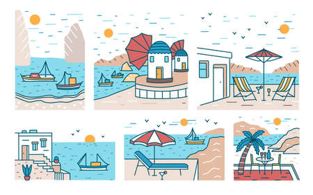 Bundle of summer sceneries with sea or ocean, mountains, sailing boats and seaside resort. Set of beautiful touristic landscapes or seascapes. Colorful vector illustration in modern line art style.