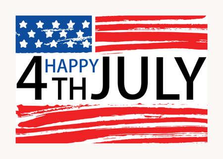Feliz inscripción del 4 de julio escrita en la bandera nacional estadounidense. Letras del Día de la Independencia de los Estados Unidos de América aisladas sobre fondo blanco. Ilustración de vector de vacaciones dibujado a mano de color. Ilustración de vector