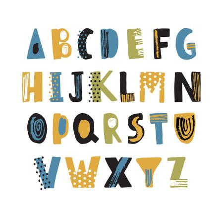 ドットと落書きで飾られた手描きのラテンフォントやヒップスター英語のアルファベット。白い背景に分離されたアルファベット順に配置されたカラフルなテクスチャー文字。幼稚なベクトルのイラスト。