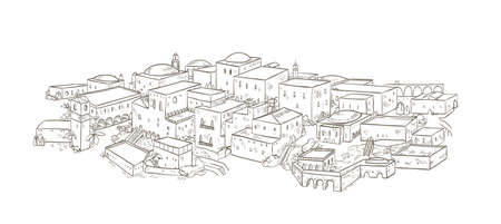 Ancient city with old buildings of oriental architecture hand drawn with contour lines on white background. Monochrome drawing of Jerusalem or Baghdad. Beautiful cityscape. Vector illustration.