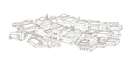 Oude stad met oude gebouwen van oosterse architectuur hand getekend met contourlijnen op witte achtergrond. Zwart-wit tekening van Jeruzalem of Bagdad. Prachtig stadsgezicht. Vector illustratie.