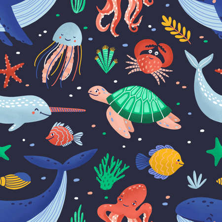 Seamless pattern with cute funny marine animals or happy underwater creatures living in sea. Ocean fauna. Flat cartoon childish vector illustration for textile print, wrapping paper, wallpaper.