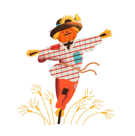 Espantapájaros de paja sonriente vestido con ropa vieja y sombrero de pie en el campo con cultivos en crecimiento. Espantapájaros feliz lindo en ropa andrajosa. Ilustración de vector colorido en estilo moderno de dibujos animados plana.