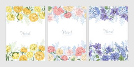 Sammlung von Blumenhintergründen oder Kartenvorlagen mit Rahmen aus schönen blühenden Wildblumen und blühenden Kräutern und Platz für Text. Elegante realistische botanische Vektorillustration.