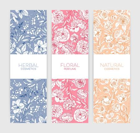 Collection of vertical botanical backdrops with romantic peonies and summer garden blooming flowers for natural cosmetics and floral perfume advertisement. Botanical realistic vector illustration.