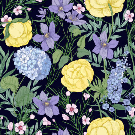 Natural seamless pattern with elegant blooming flowers and flowering herbaceous plants on black background. Floral hand drawn vector illustration for textile print, backdrop, wrapping paper.