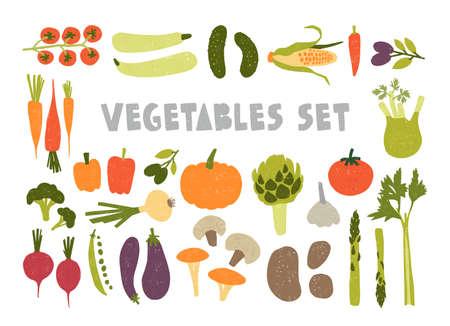 Paquete de coloridas verduras maduras dibujadas a mano aisladas sobre fondo blanco. Conjunto de productos vegetarianos saludables y deliciosos, comida vegetariana saludable. Ilustración de vector de dibujos animados plana.