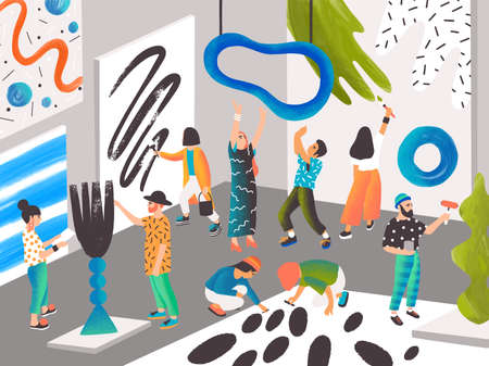 Artists and sculptors painting and sculpting at art residence or place for creative people. Men and women creating contemporary artworks. Modern colorful vector illustration in flat cartoon style.