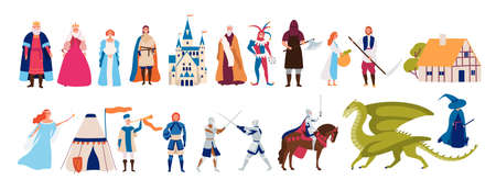 Collection of cute funny male and female characters and items and monsters from medieval fairytale or legend isolated on white background. Colorful vector illustration in flat cartoon style. Stock Illustratie