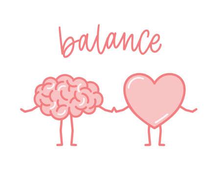 Lindo cerebro rosa y corazón cogidos de la mano. Órganos humanos divertidos dibujos animados aislados sobre fondo blanco. Concepto de equilibrio de mente y alma, pensamientos y sentimientos. Ilustración de vector de color plano. Ilustración de vector