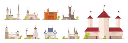Collection of ancient castles, fortresses, citadels and strongholds isolated on white background. Set of buildings of beautiful medieval architecture. Flat cartoon colorful vector illustration.