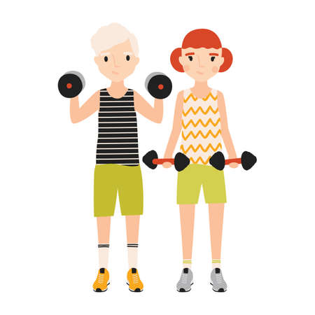 Pair of kids dressed in sportswear doing exercise with barbells isolated on white background. Sports activity, strength or power training for children. Flat cartoon colorful vector illustration.