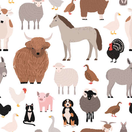 Seamless pattern with domestic farm barnyard animals and birds on white background. Backdrop with livestock and fowl. Cartoon hand drawn vector illustration for wrapping paper, textile print