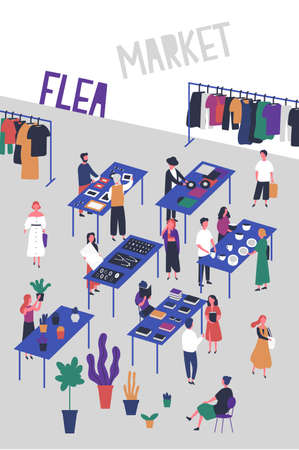 Flyer or poster template for flea or fashion market, rag fair with buyers and sellers of vinyl records, jewelry, books, plants, stylish clothing. Colorful vector illustration in flat cartoon style.