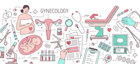 Modern horizontal banner with pregnant woman, fetus in womb, uterus, gynecological examination chair and medical equipment. Gynecology and obstetrics. Colorful vector illustration in line art style.