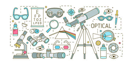 Creative horizontal banner template with various optical devices, dispersive prism, glasses, human eye, optic lenses on white background. Colorful vector illustration in modern line art style.