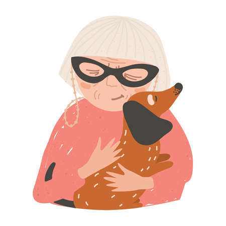 Portrait of old lady or woman holding his dachshund dog and hugging. Beautiful female cartoon character embracing domestic animal. Pet love and care. Colorful vector illustration in flat style.