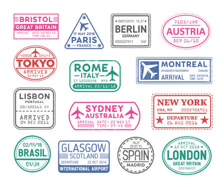 Collection of passport stamps isolated on white background. Bundle of travel or touristic marks. Set of round, rectangular and triangular journey or trip markings. Colorful vector illustration.